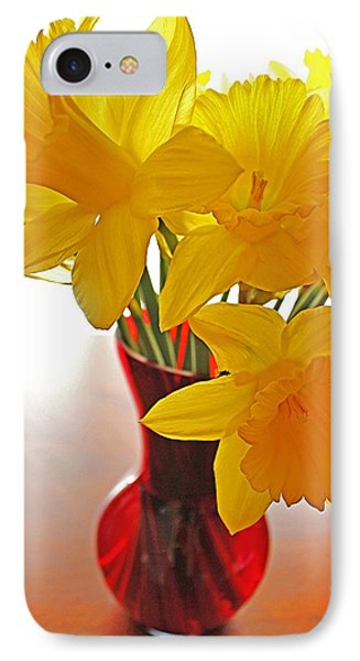 IPhone Case featuring the photograph Daffodils In Red Vase by Diane Alexander