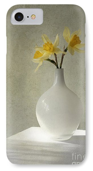 Daffodils In White Glass Flower Pot IPhone Case