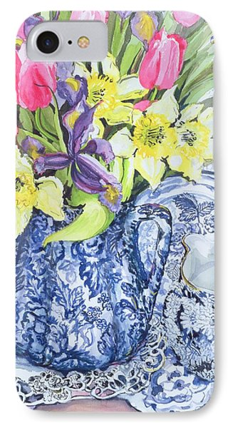 Daffodils Tulips And Irises With Blue Antique Pots  IPhone Case by Joan Thewsey