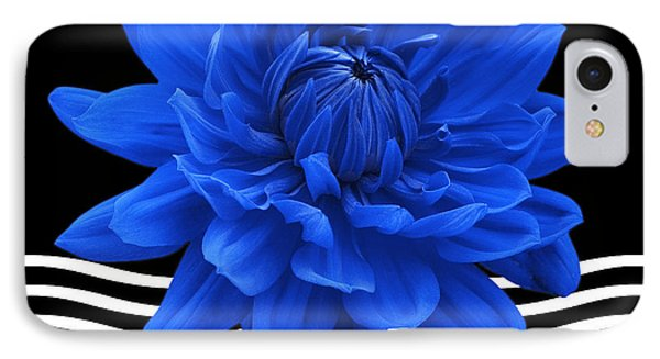 Dahlia Flower And Wavy Lines Triptych Canvas 2 - Blue Phone Case by Natalie Kinnear