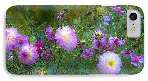 Dahlias And Cosmos  IPhone Case by Judy Via-Wolff