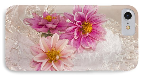 IPhone Case featuring the photograph Dahlias And Lace by Sandra Foster
