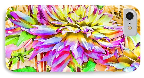 IPhone Case featuring the photograph Dahlias In Digital Watercolor by Sandra Foster