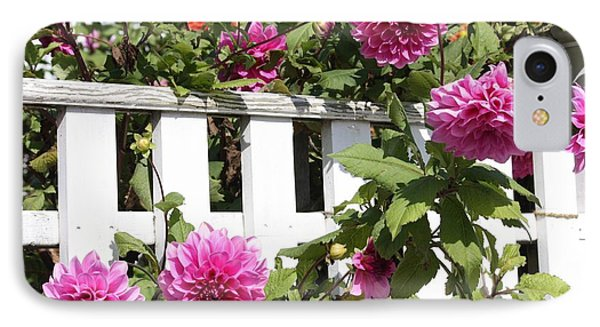 Dahlias Over The Fence Phone Case by Carol Groenen