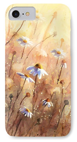 Daisies At Sunset - Impressionism IPhone Case by Georgiana Romanovna