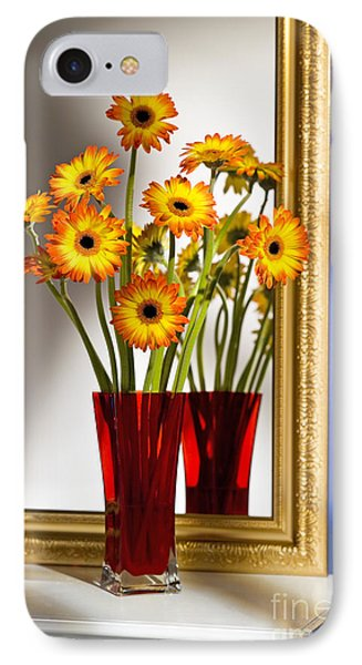 Daisies In Red Vase IPhone Case