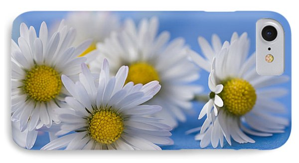 Daisies On Blue Phone Case by Jan Bickerton