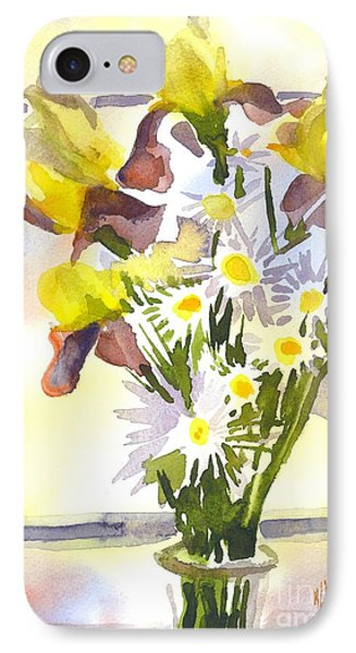 Daisies With Yellow Irises Phone Case by Kip DeVore
