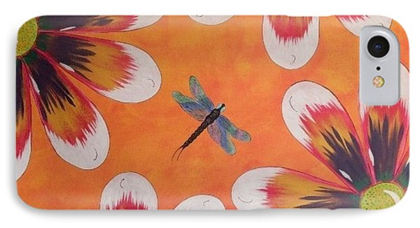IPhone Case featuring the painting Daisy And Dragonfly by Cindy Micklos