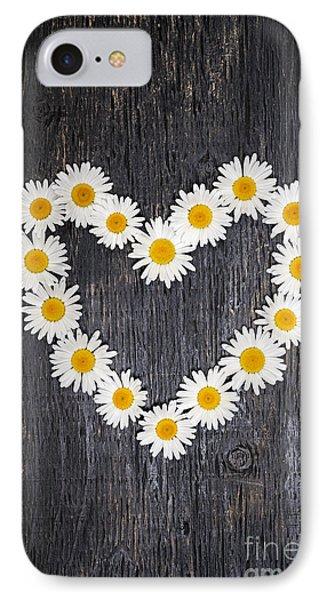 Daisy Heart On Dark Wood IPhone Case