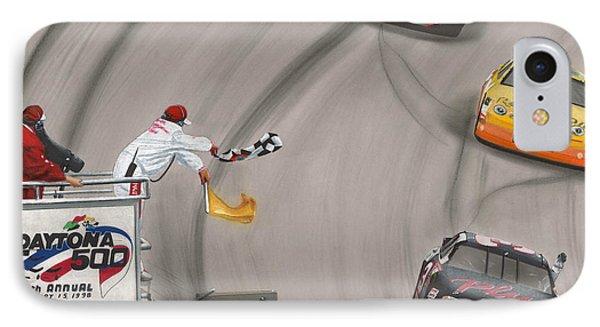 Dale Earnhardt Wins Daytona 500-checkered Flag IPhone Case by Paul Kuras