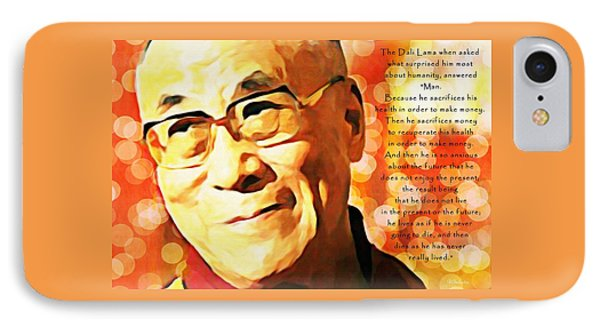 Dali Lama And Man IPhone Case by Barbara Chichester