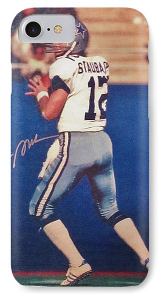 Dallas Cowboys Quarterback #12 Roger Staubach IPhone Case by Donna Wilson