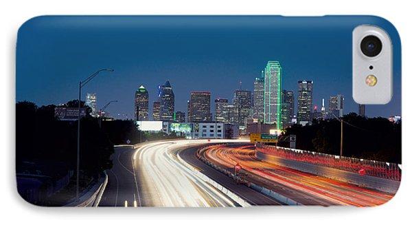 Dallas Night Skyline Light Trails IPhone Case