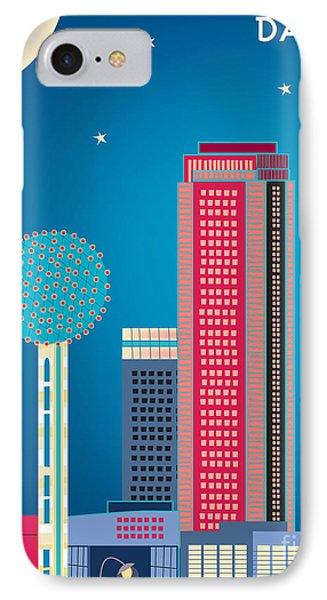 Dallas Nightime Skyline Phone Case by Karen Young