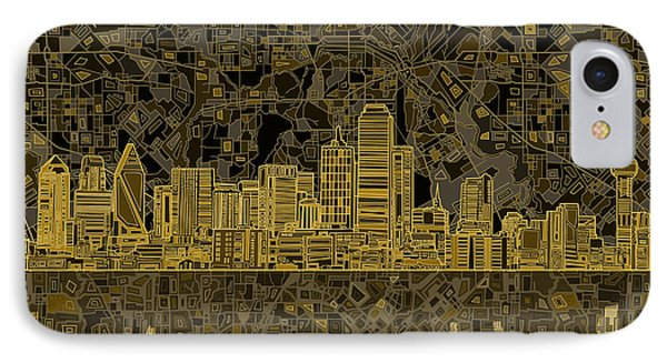 Dallas Skyline Abstract 3 IPhone Case