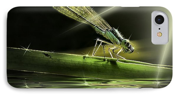 Damsel Dragon Fly  With Sparkling Reflection IPhone Case by Peter v Quenter