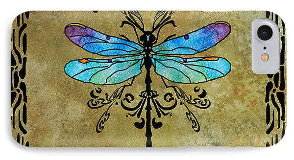 Damselfly Nouveau IPhone Case by Jenny Armitage