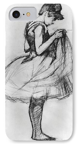 Dancer Adjusting Her Costume And Hitching Up Her Skirt IPhone Case by Henri de Toulouse-Lautrec