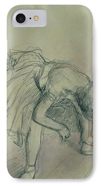 Dancer Fixing Her Slipper IPhone Case by Edgar Degas