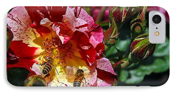 Dancing Bees And Wild Roses IPhone Case by Absinthe Art By Michelle LeAnn Scott