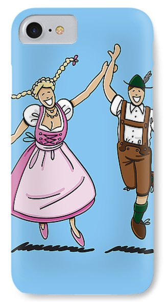 Dancing Couple With Dirndl And Lederhosen IPhone Case by Frank Ramspott