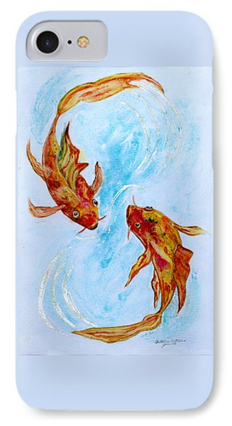 IPhone Case featuring the painting Dancing Koi Sold by Antonia Citrino