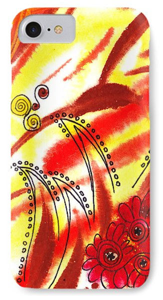 Dancing Lines And Flowers Abstract IPhone Case by Irina Sztukowski