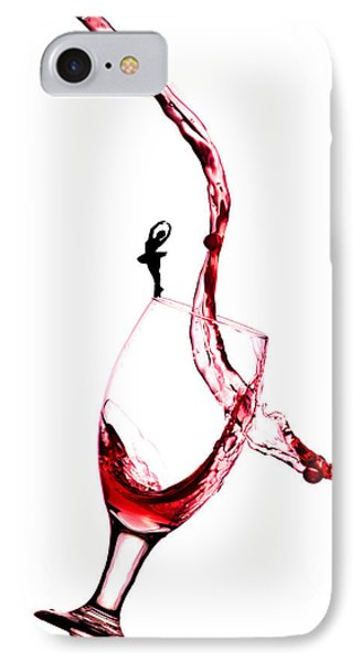 Dancing On A Glass Cup With Splashing Wine Little People On Food Phone Case by Paul Ge