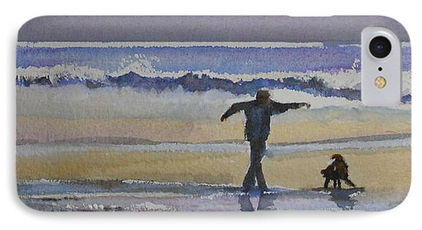 IPhone Case featuring the painting Dancing On The Beach by Jan Cipolla