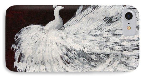 Dancing Peacock Burgundy IPhone Case by Anita Lewis