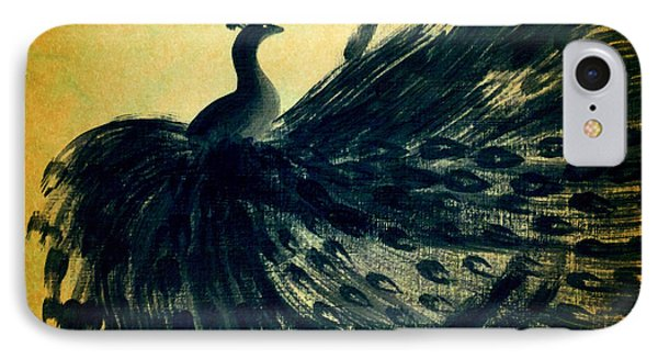 IPhone Case featuring the painting Dancing Peacock Gold by Anita Lewis