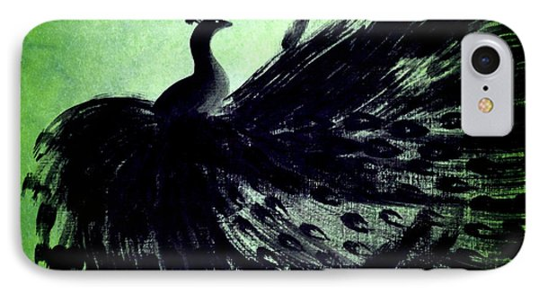 IPhone Case featuring the digital art Dancing Peacock Green by Anita Lewis