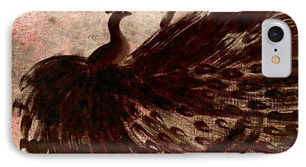 IPhone Case featuring the painting Dancing Peacock Grey by Anita Lewis