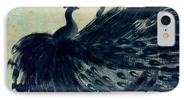IPhone Case featuring the painting Dancing Peacock Mint by Anita Lewis
