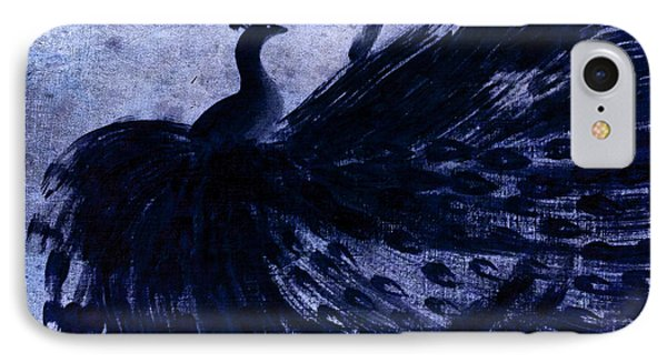 IPhone Case featuring the painting Dancing Peacock Navy by Anita Lewis