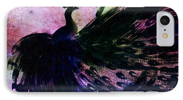 IPhone Case featuring the digital art Dancing Peacock Rainbow by Anita Lewis