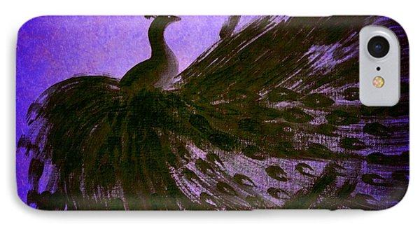 IPhone Case featuring the digital art Dancing Peacock Vivid Blue by Anita Lewis