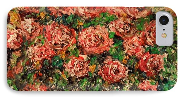IPhone Case featuring the painting Dancing Red Roses by Laurie L