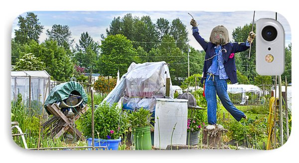 IPhone Case featuring the photograph Dancing Scarecrow In The Garden by Maria Janicki