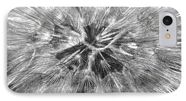 Dandelion Fireworks In Black And White Phone Case by Rona Black