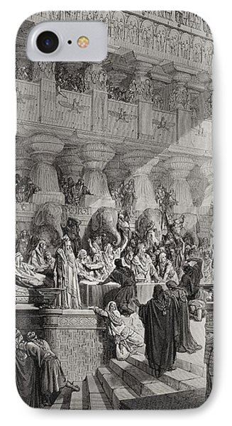 Daniel Interpreting The Writing On The Wall Phone Case by Gustave Dore