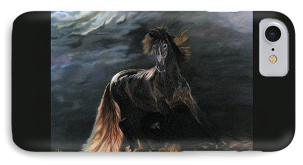 IPhone Case featuring the painting Dappled Horse In Stormy Light by LaVonne Hand