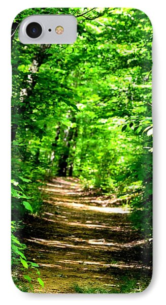 Dappled Sunlit Path In The Forest IPhone Case by Maria Urso