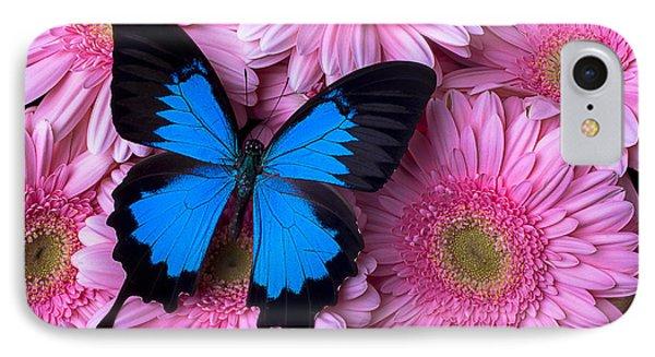 Dark Blue Butterfly IPhone Case by Garry Gay