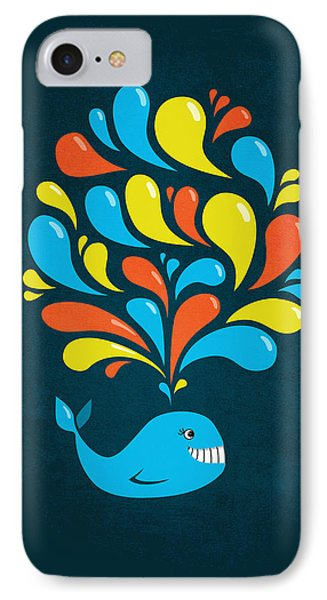 Dark Colorful Splash Happy Cartoon Whale IPhone Case by Boriana Giormova