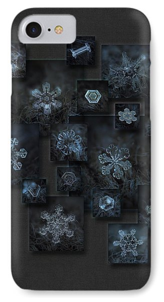 IPhone Case featuring the photograph Snowflake Collage - Dark Crystals 2012-2014 by Alexey Kljatov