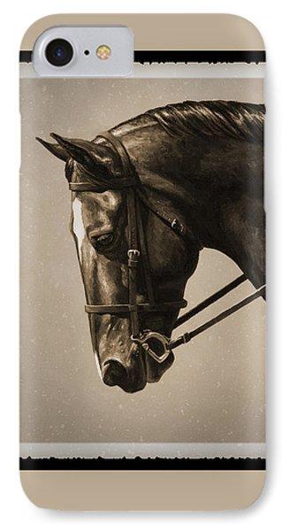 Dark Dressage Horse Old Photo Fx IPhone Case by Crista Forest