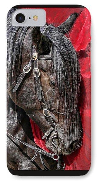 Dark Horse Against Red Dress Phone Case by Jennie Marie Schell