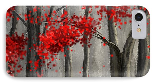 Dark Passion- Red And Gray Art IPhone Case by Lourry Legarde